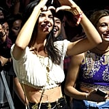 Kendall formed a heart with her hands.