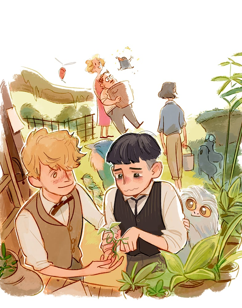 Newt teaching Credence about magical creatures.