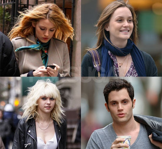 Photos of Penn Badgley and Leighton Meester on the Set of Gossip Girl in NYC