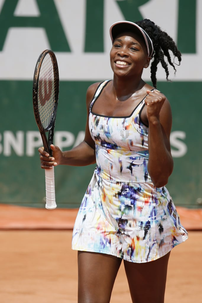 This multicolor dress was a standout look for Venus WIlliams, who was all smiles after winning her opening match at the 2014 French Open.