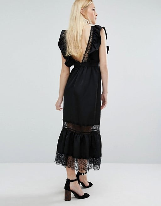 Lost Ink Deep V Dress in Satin and Lace ($83)