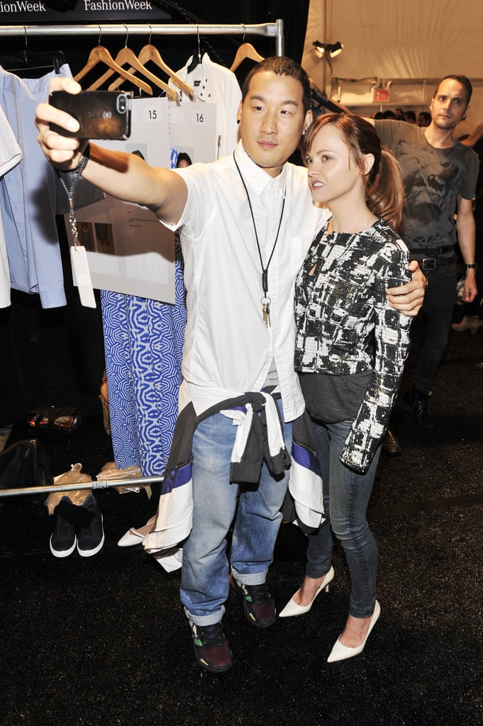 Christina Ricci posed for a selfie with designer Richard Chai backstage at his show on Thursday.
