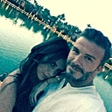 """""""Thanks to my beautiful wife for such an amazing day x,"""" David wrote in the caption for his selfie with Victoria."""