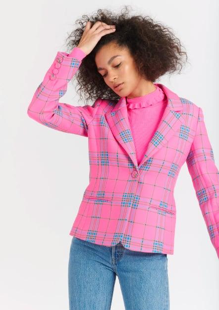 Tanya Taylor Waverly Pink Plaid Blazer