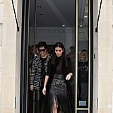 Later on, she was seen leaving the Balmain store in the same outfit with her mother, Kris Jenner.