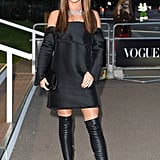 For the Vogue 100 gala celebration in May 2016, Cheryl wore an off-the-shoulder dress by Dion Lee with Jimmy Choo boots.