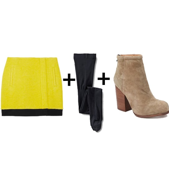 For a major dose of color, try a bright miniskirt, then temper it with navy tights and taupe boots.  Get the look:  Diane von Furstenberg yellow bouclé skirt ($90, originally $300) Lands' End navy tights ($12) Jeffrey Campbell taupe suede boots ($155)