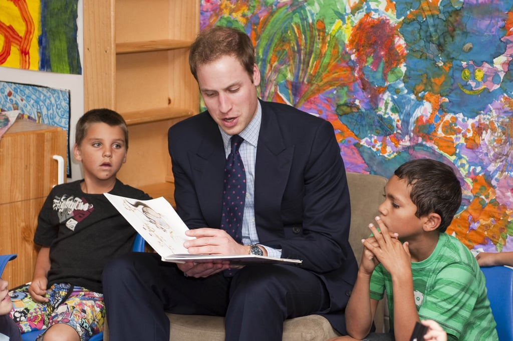 We can't help but swoon over this picture of Prince William reading to a group of kids in Australia — he made a visit the Redfern Community Center in January 2010 and seemed to draw a captivated crowd in the classroom.