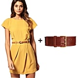 Wide-Belt Styling Tip: Forget the skinny belt featured with this ultrapretty Summer frock; instead pair a quirky wide belt as the playful shape-cinching accessory. Since the dress is bold but totally sleek, too, we partnered the look with a perforated leather belt (a play on this season's cutout obsession) to inject an edgier feel. The key takeaway here is to mix and match styling sensibility — femininity plus tough-girl cool, girlier lengths plus chunkier accents.  Get the Look: Asos Mini Tulip Dress With Flute Sleeves ($61) + Barneys New York Co-op Wide Perforated Hip Belt ($145)
