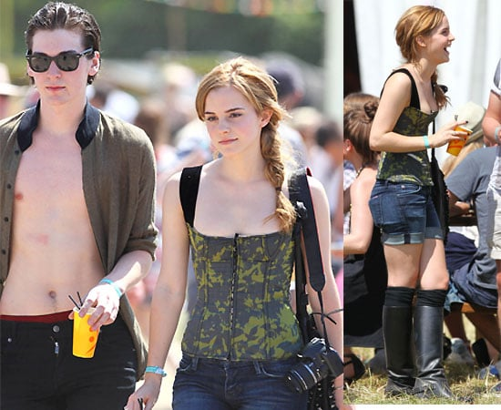 Pictures of Harry Potter Star Emma Watson with George Craig at Glastonbury Festival 2010-06-25 07:51:54
