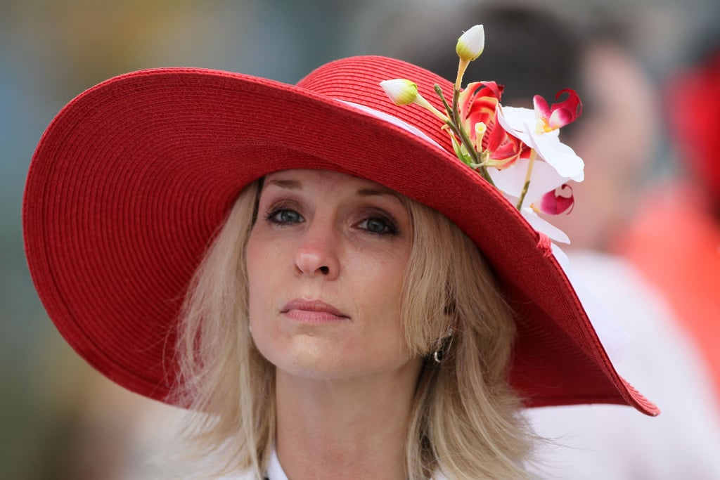 A woman was seen in the grandstands wearing a hat prior to the 136th running of the Kentucky Derby on May 1, 2010.