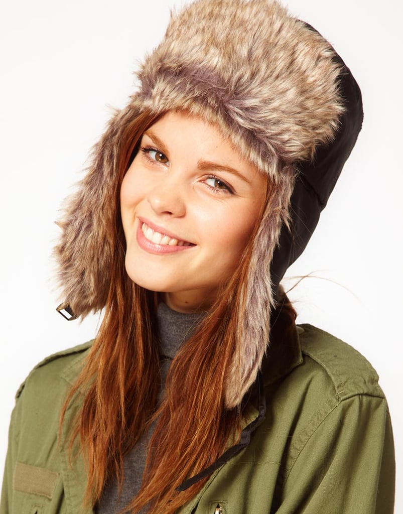 We totally approve of the way this model is wearing her faux-fur Tommy Hilfiger trapper hat ($62, originally $86): with a gray turtleneck and an army jacket.