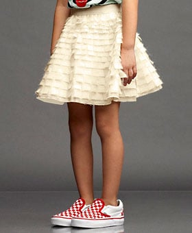 Clipped Feather Swing Skirt ($250)