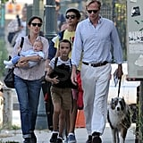 Jennifer Connelly and Paul Bettany walked with their children Kai Dugan and Stellan and Agnes Bettany in NYC.