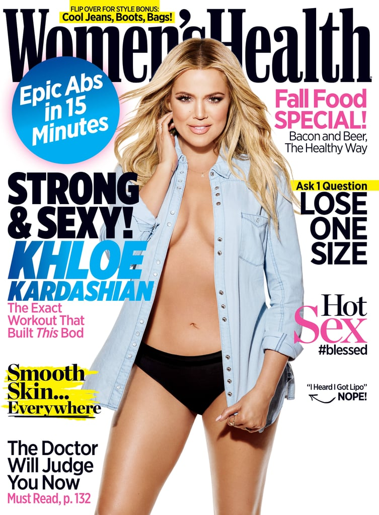 khloe kardashian on the cover of women s health popsugar