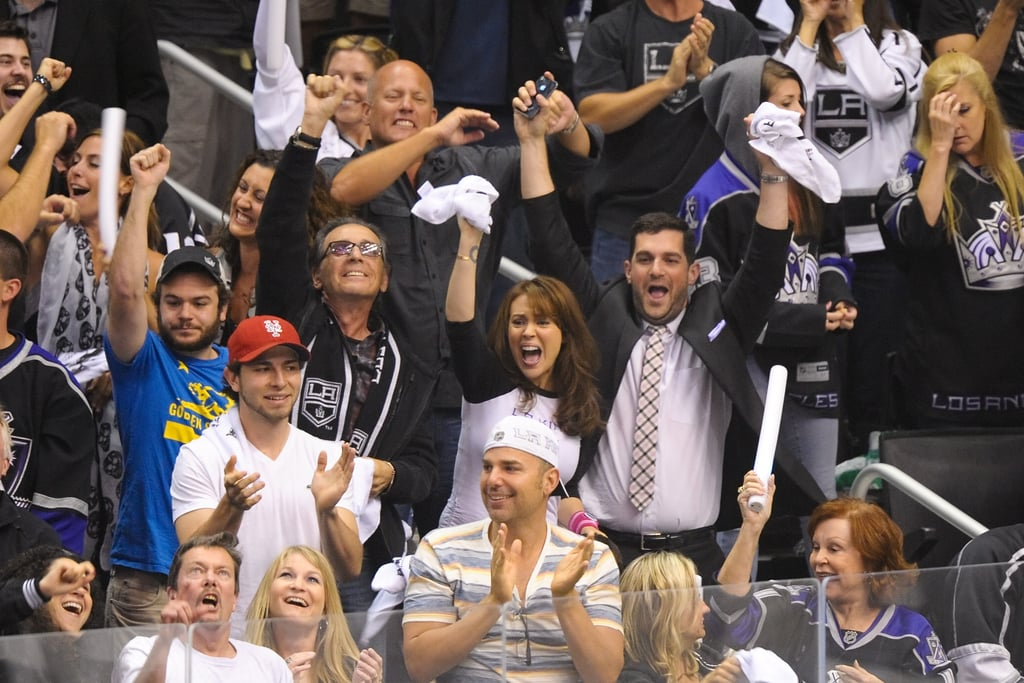 Alyssa Milano got spirited at the LA Kings Stanley Cup final game.