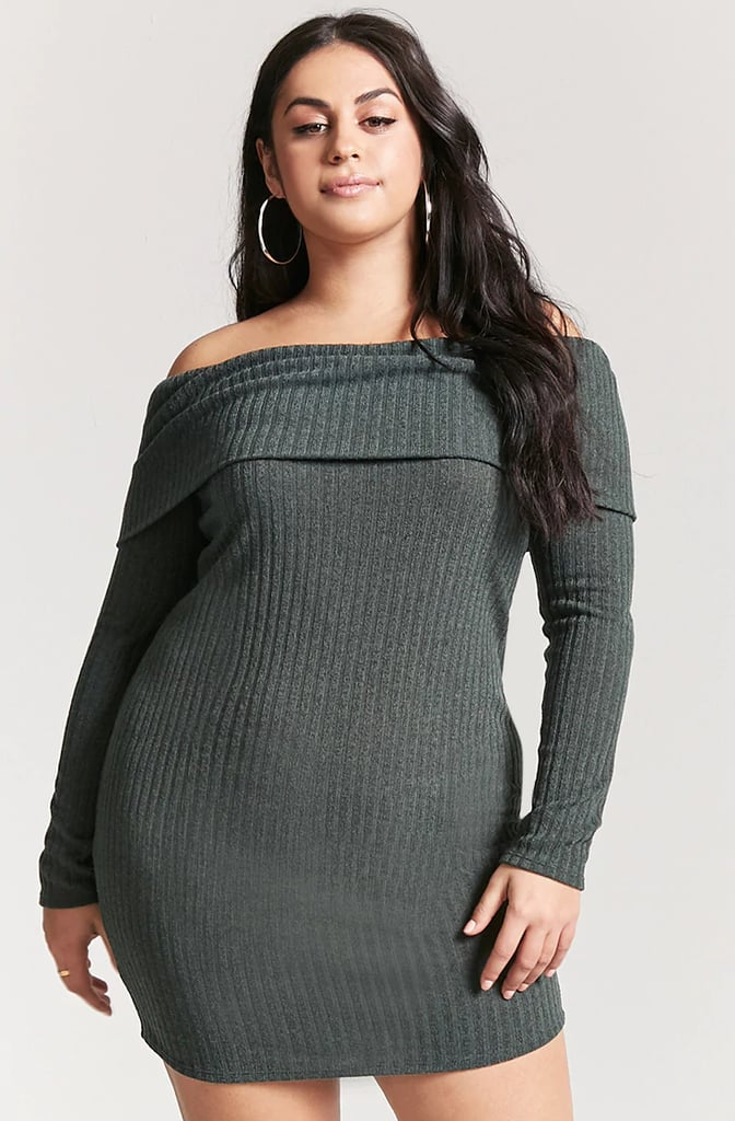 Forever 21 Plus Size Off-the-Shoulder Sweater Dress