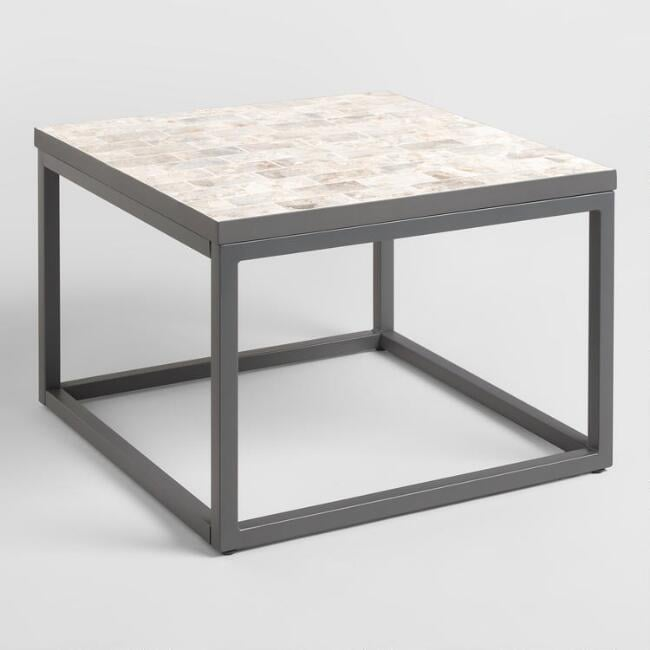 Square Marble Top Aviero Outdoor Occasional Coffee Table