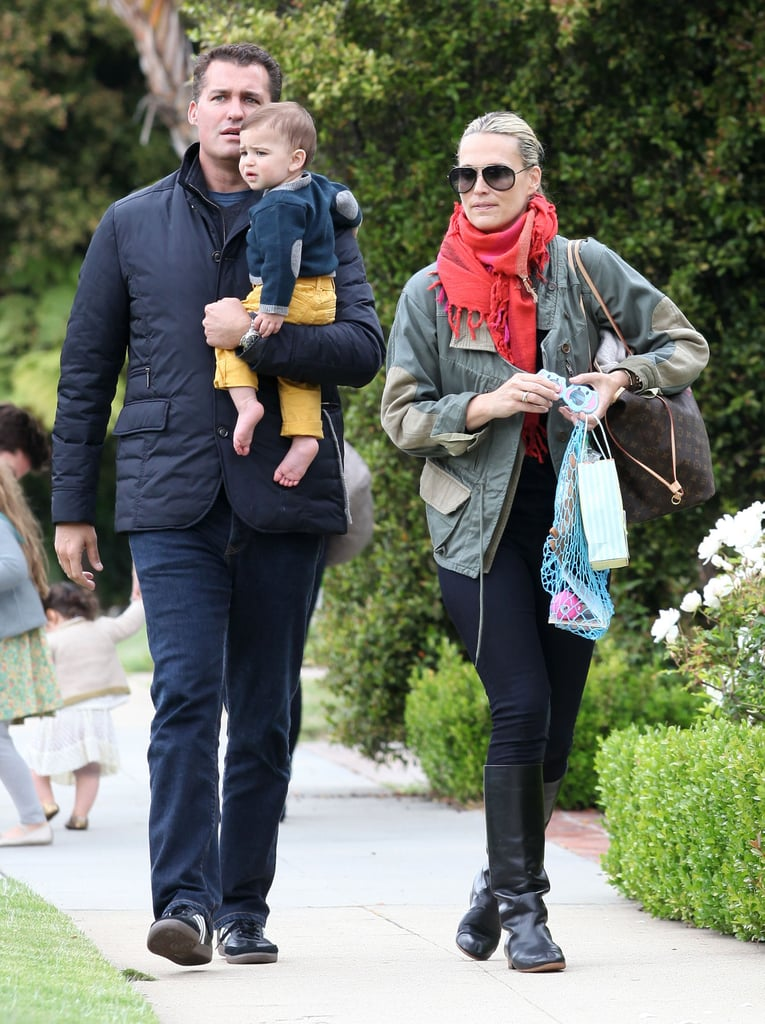 Molly Sims and her husband, Scott Stuber, took their son Brooks to a party at Rachel Zoe's house in LA.