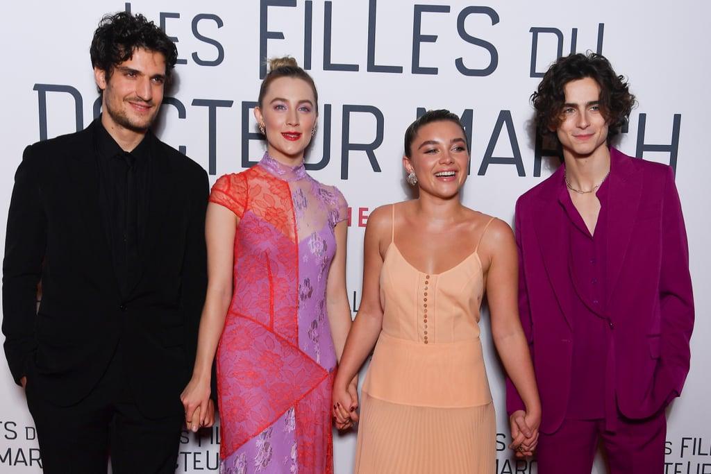 Louis Garrel, Saoirse Ronan, Florence Pugh, and Timothée Chalamet at the Little Women Premiere