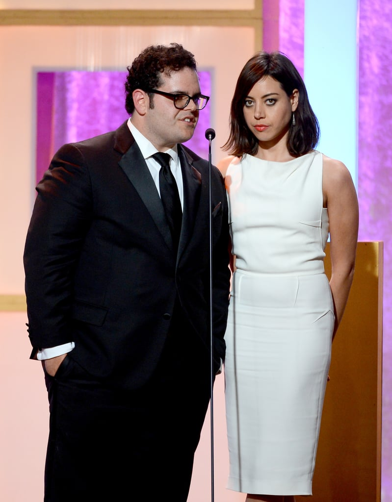 Aubrey Plaza presented alongside Josh Gad.