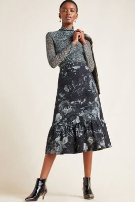 Edita Flounced Midi Skirt