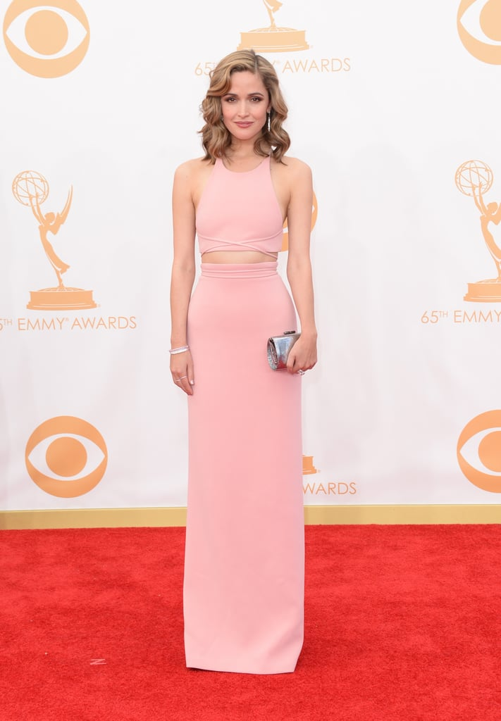 """Seems like the crop top is """"in"""" in Hollywood, too! Rose Byrne flashed some stomach in this sleek Calvin Klein Collection style."""