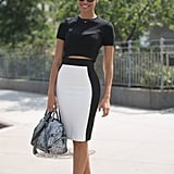 A fitted pencil skirt with a cropped top