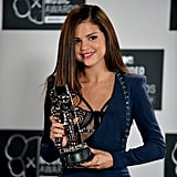 Selena Gomez was all smiles in the press room.