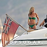 Kate Moss wore a bikini in August 2009 while on a French Riviera yacht vacation with Lily Allen.