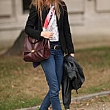 A pair of sneakers gave this classic denim and blazer a sporty feel.