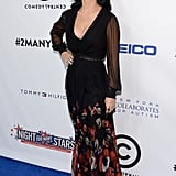 Katy Perry chose a printed gown for the Night of To Many Stars benefit in NYC.