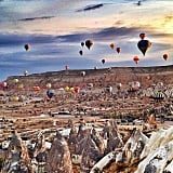 See Hot Air Balloons at Sunrise at Goreme Sunset Point in Turkey