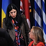 Hillary chatted with Abedin, who worked as her personal aide.