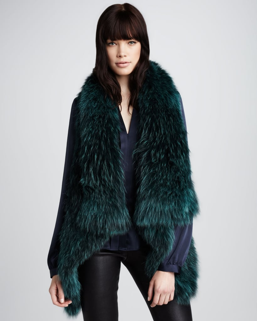This jewel-toned Theory Fur Vest ($1,315) is ideal for pairing with your gorgeous holiday maxi gowns.