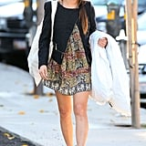 Jamie Chung made us wish for warmer weather, showing off a sweet printed dress and boots combo.