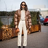 Pair Your Turtleneck With a Rust-Coloured Puffer