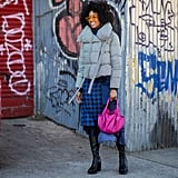 Winter Outfit Idea: A Puffer and a Pretty Skirt