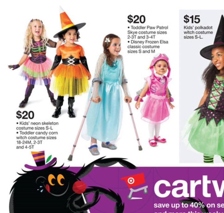 Target Ad For Halloween Costumes Features Girl With Crutches | POPSUGAR Moms  sc 1 st  Popsugar & Target Ad For Halloween Costumes Features Girl With Crutches ...