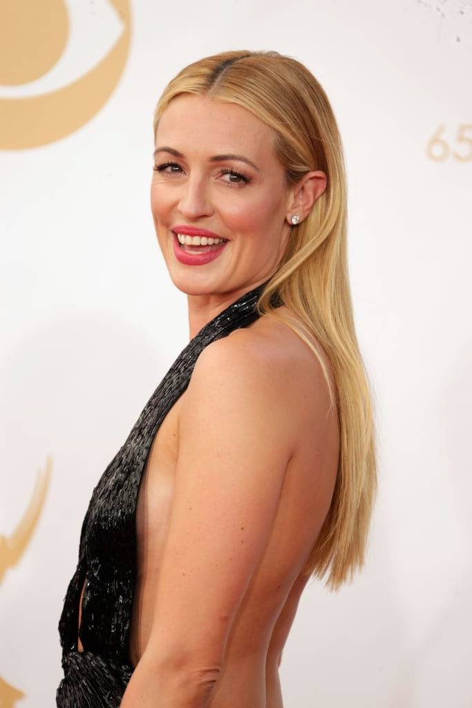 Cat Deeley showed off a dusky pink lip and stick-straight strands that complemented her sequinned halter dress.