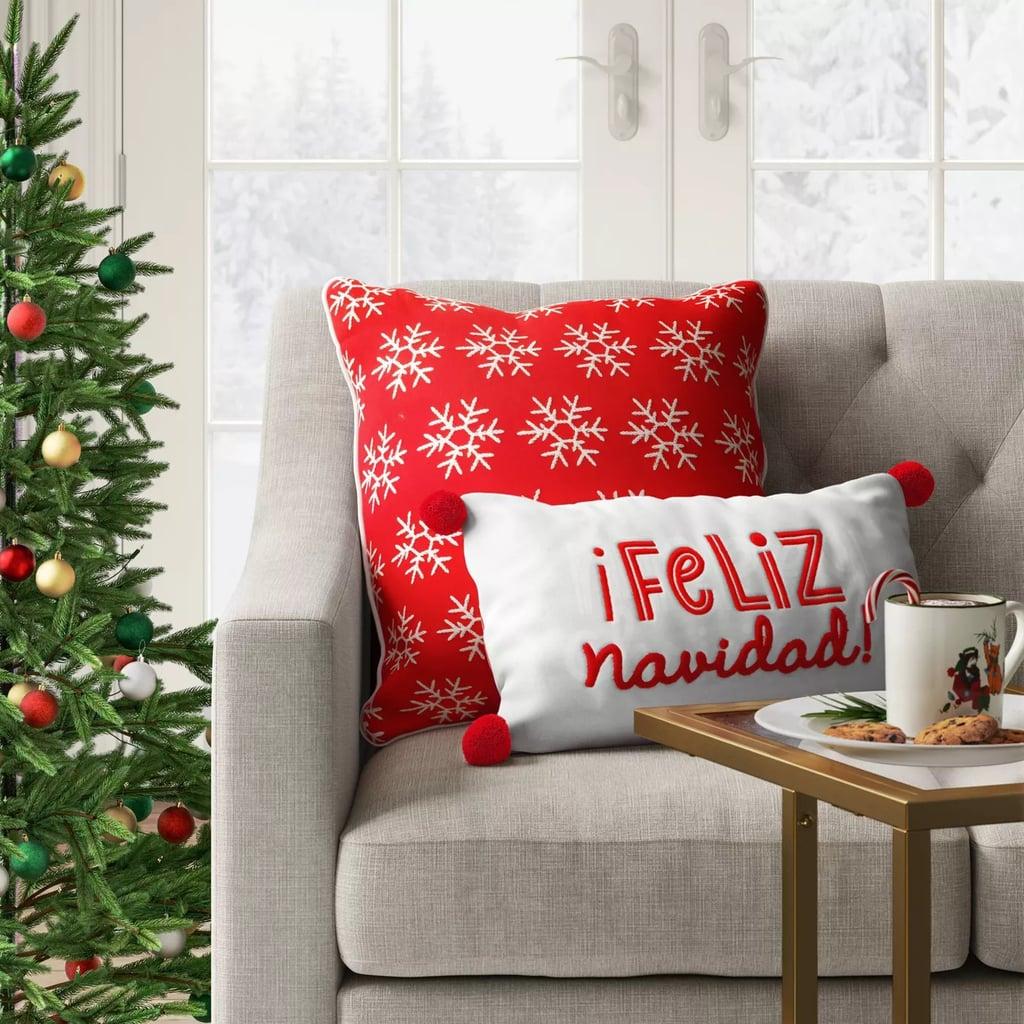 Holiday Embroidered Feliz Navidad Lumbar Throw Pillow