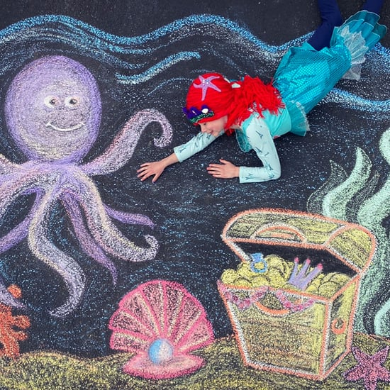 Mom Makes Sidewalk Chalk Art During While Social Distancing