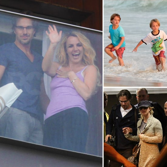Britney and Her Boys Greet Brazil With a Big Smile