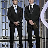 Sylvester Stallone and Arnold Schwarzenegger presented at the Globes.