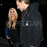 Jessica Simpson and Eric Johnson smiled at each other.