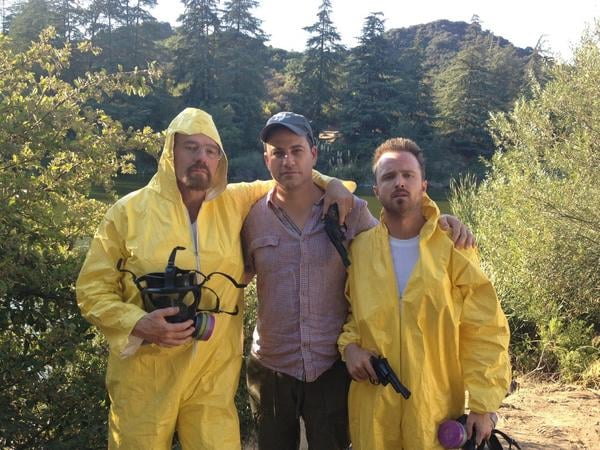 """Jimmy Kimmel tweeted out a pic of himself and Breaking Bad's Bryan Cranston and Aaron Paul """"foreshadowing"""" his Emmy hosting gig.  Source: Twitter user JimmyKimmel"""
