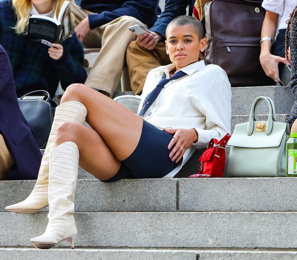 Shop Jordan Alexander's White Boots in Gossip Girl Reboot