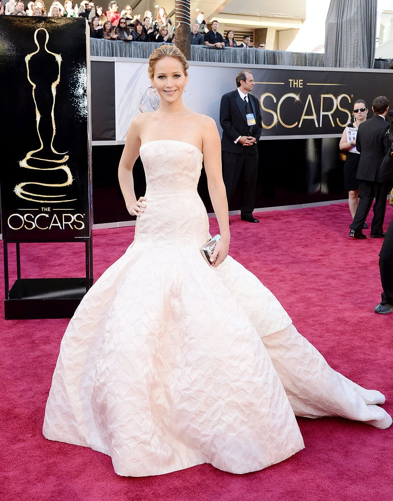 Best actress Oscar winner Jennifer Lawrence donned a jaw-dropping fit-and-flare pale pink strapless Christian Dior Couture gown.