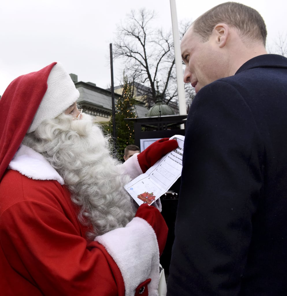 Prince William may be a royal, but he's also a proud father. During his recent visit to Finland on Thursday, Will put his royal duties on hold to meet with Santa Claus during the Manta's Market Winter fair. Aside from probably discussing whether his little tots have been naughty or nice, he also handed over his son Prince George's wish list for the holidays. In his adorable 4-year-old handwriting, the young prince asked for one thing only: a police car. While we're not exactly sure that's what will be waiting under the tree, we definitely can't wait to see the entire royal family (including the newly engaged Prince Harry and Meghan Markle) come together for the holidays.       Related:                                                                                                           12 British Royal Christmas Traditions That Will Surprise You