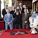Pictured: Harrison Ford, George Lucas, Hollywood Chamber of Commerce Chair of the Board Jeff Zarrinnam, LA City Councilman Mitch O'Farrell, Mark Hamill, and Hollywood Chamber of Commerce President and CEO Leron Guble.
